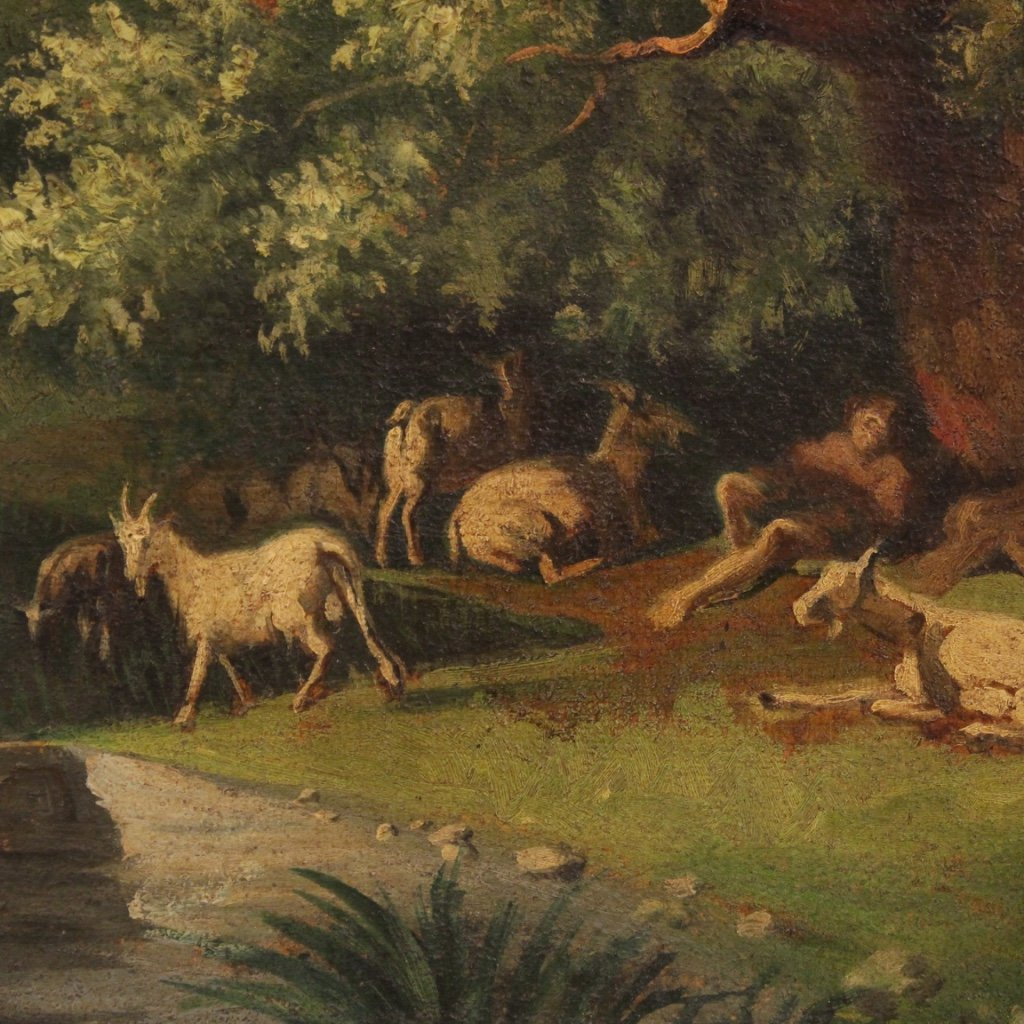 Italian Painting Landscape With Characters Oil On Canvas-photo-4