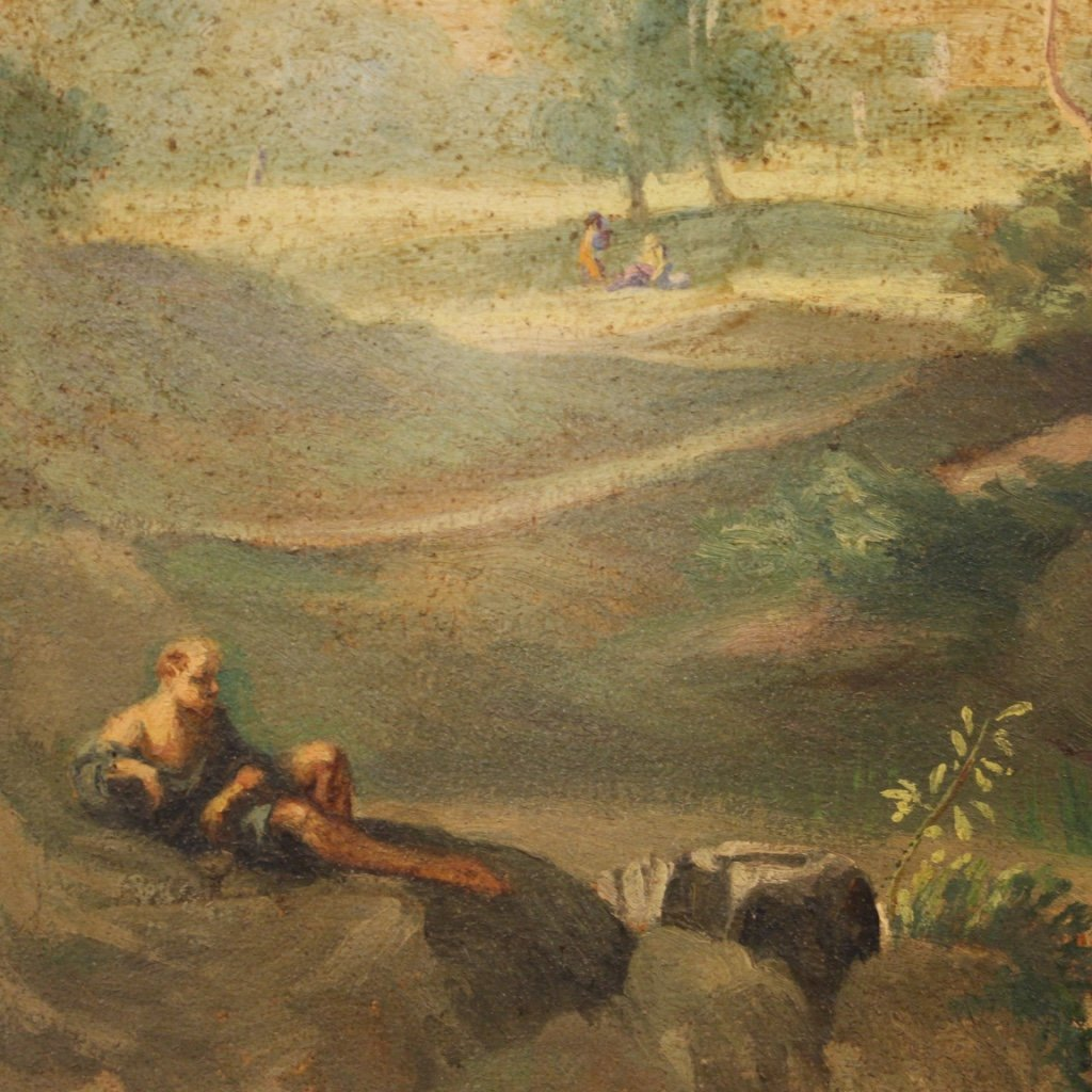 Italian Painting Landscape With Characters Oil On Canvas-photo-5
