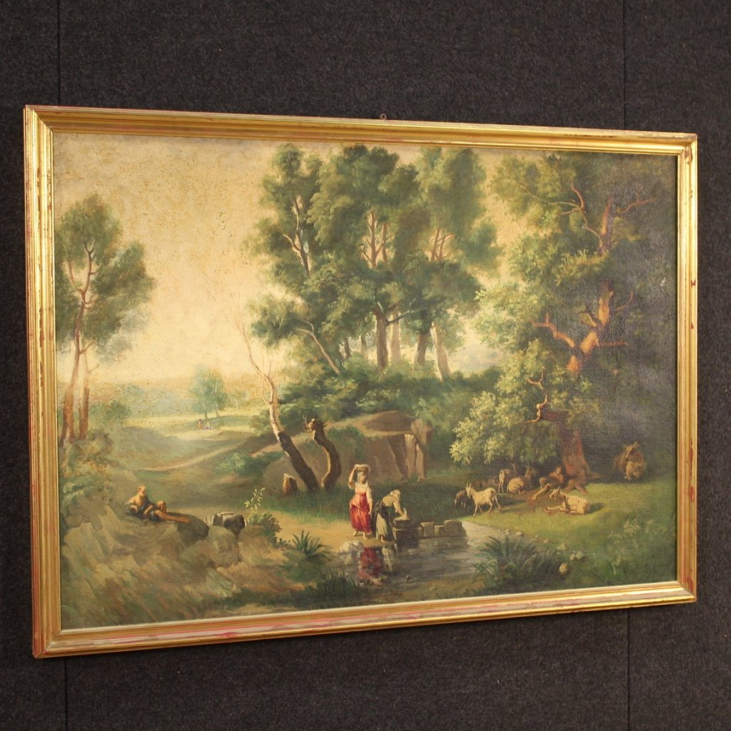 Italian Painting Landscape With Characters Oil On Canvas-photo-6