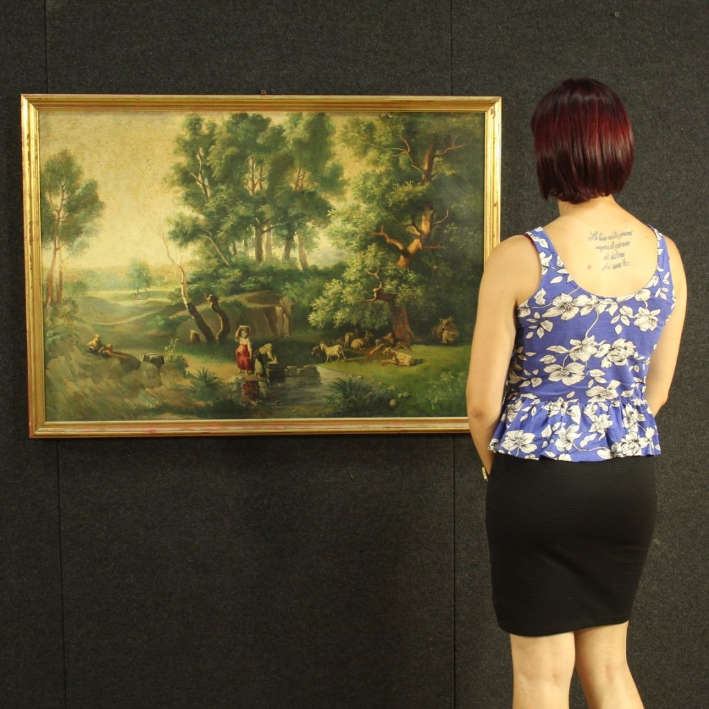 Italian Painting Landscape With Characters Oil On Canvas-photo-8