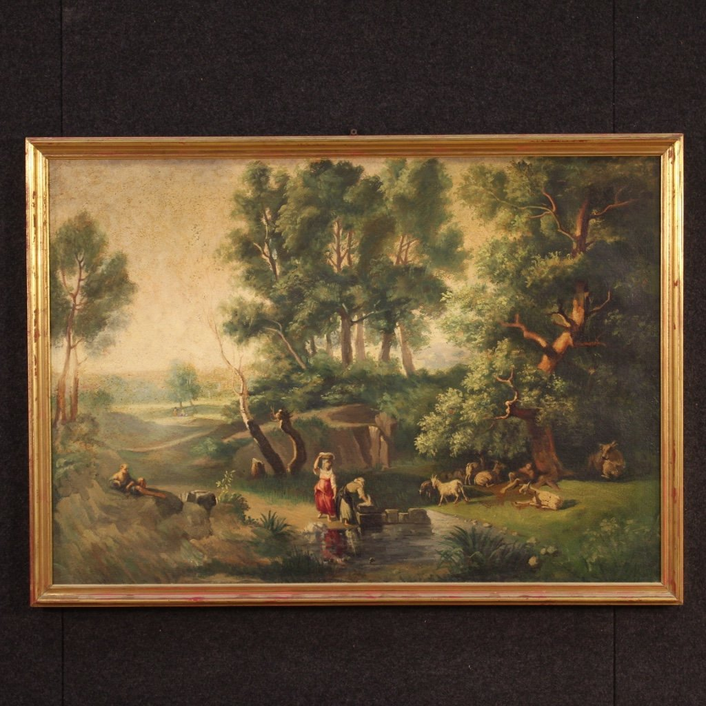 Italian Painting Landscape With Characters Oil On Canvas