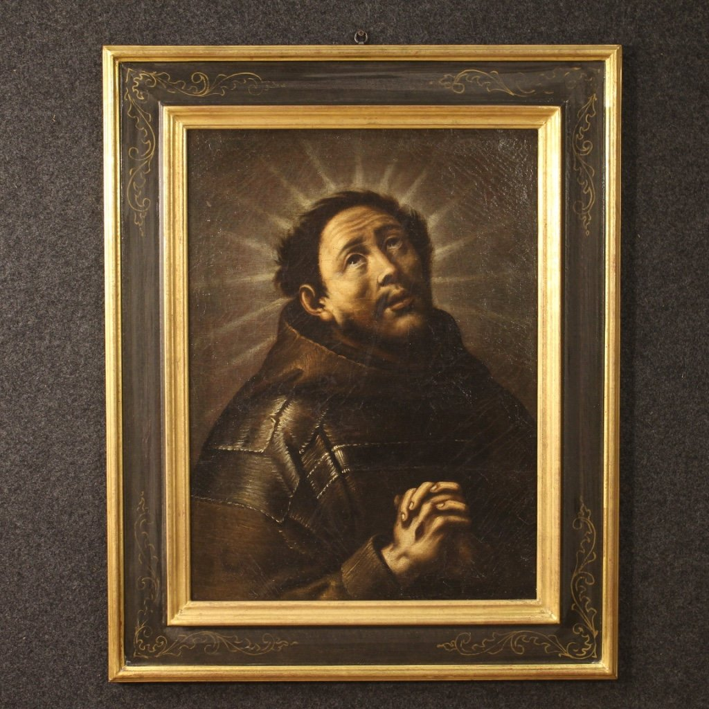 Antique Religious Painting Ecstasy Of Saint Francis From 18th Century