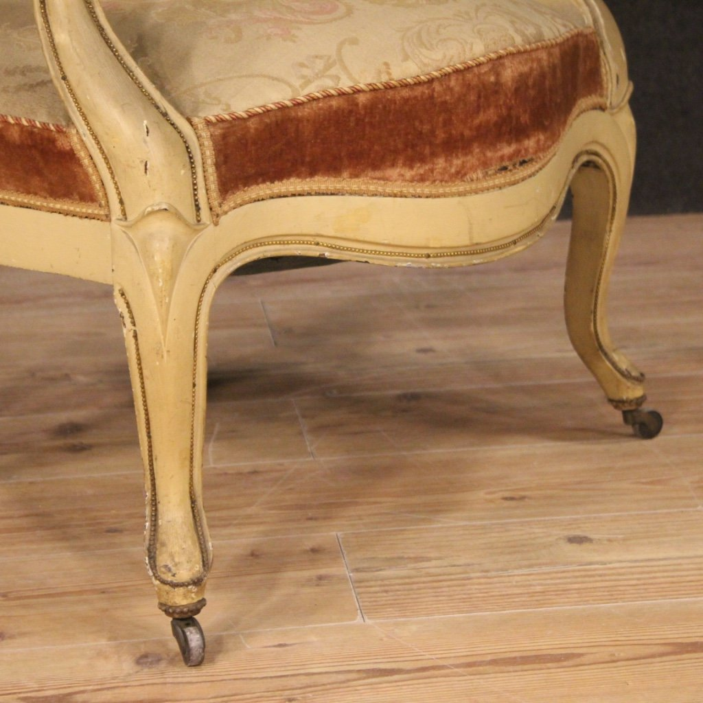 Pair Of Antique French Lacquered And Gilded French Armchairs From 19th Century-photo-2