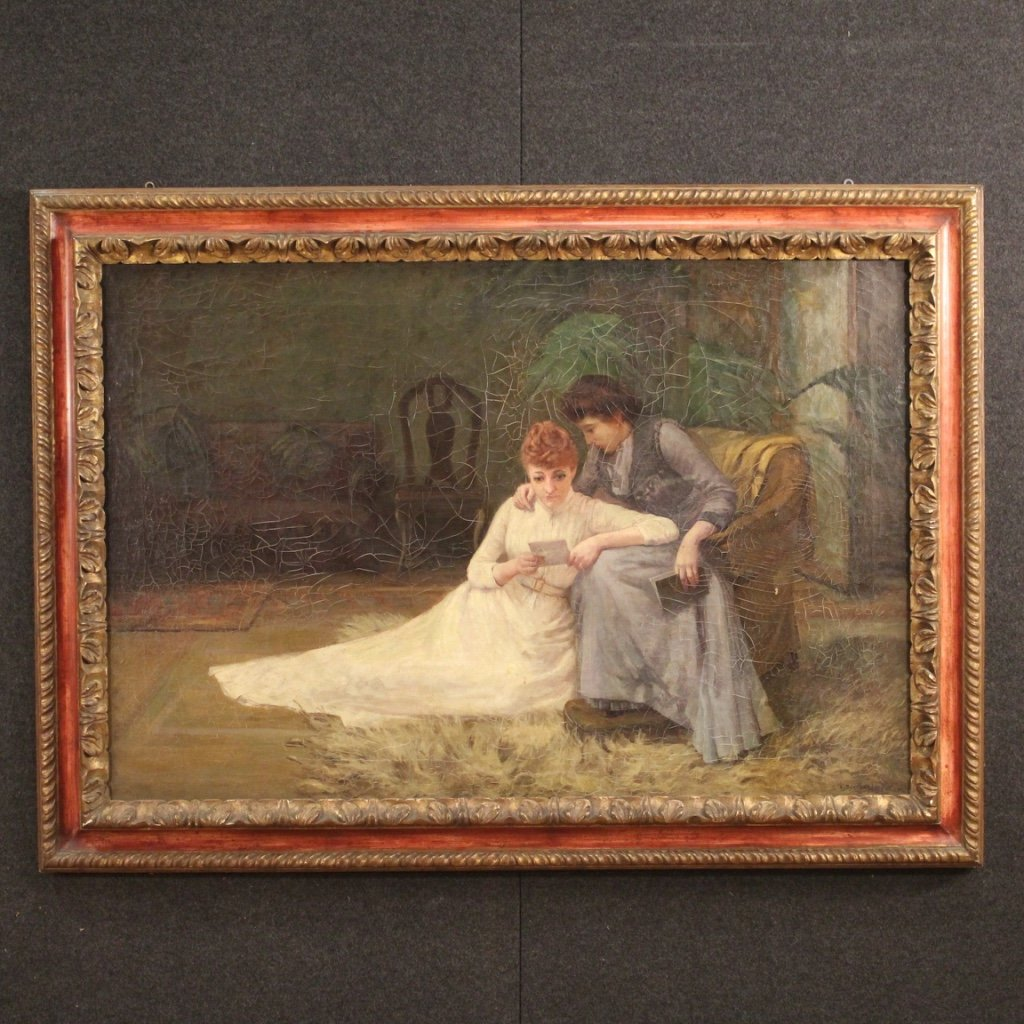 Antique English Signed Interior Scene Painting From 19th Century-photo-2