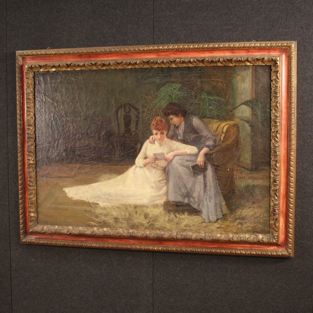 Antique English Signed Interior Scene Painting From 19th Century-photo-4