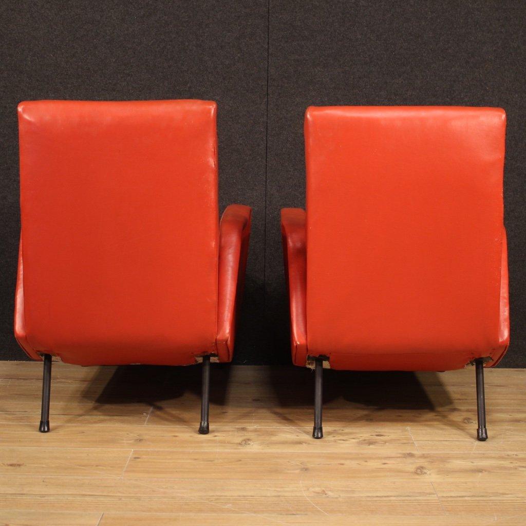 Paire De Fauteuils De Design Italien En Faux Cuir Rouge-photo-1