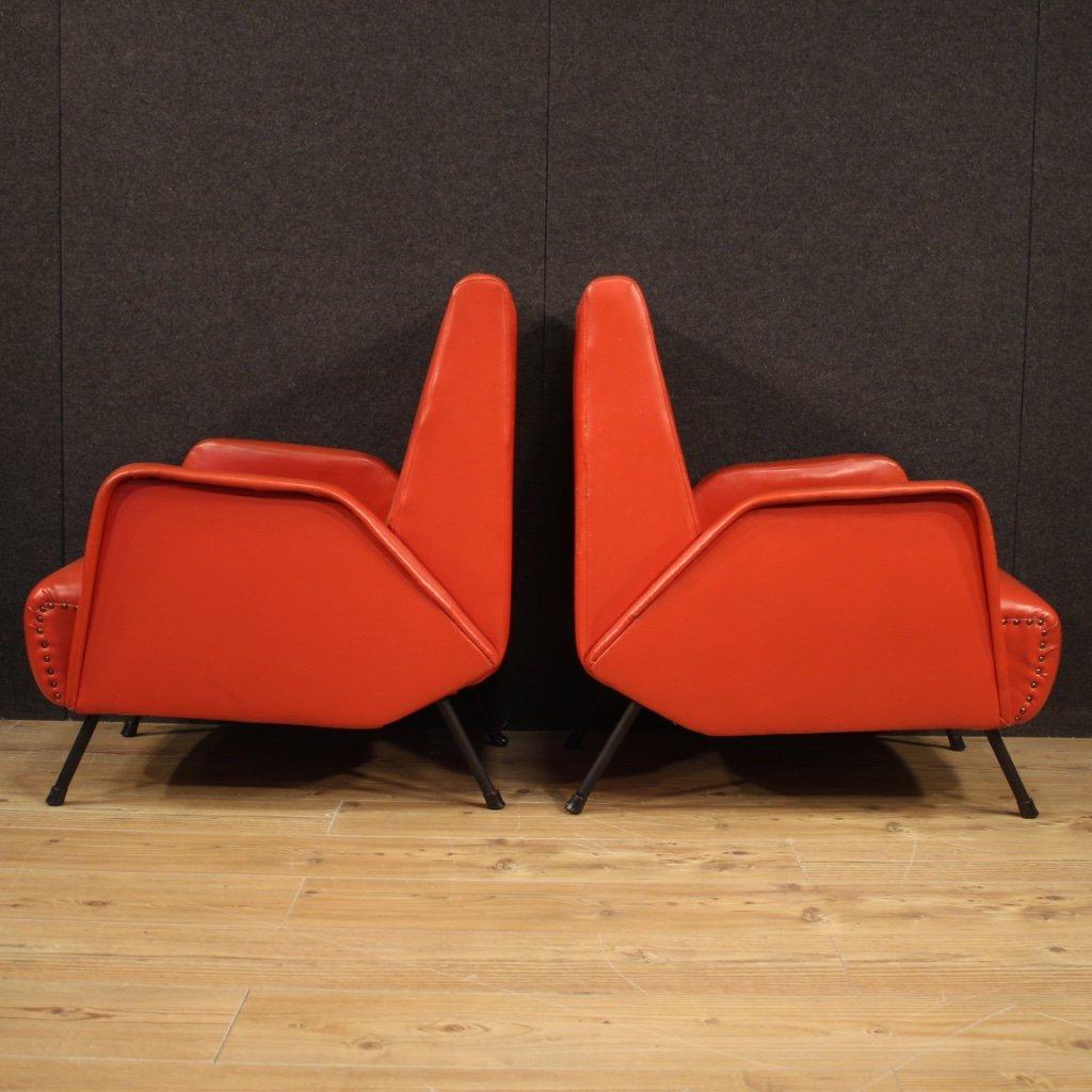 Paire De Fauteuils De Design Italien En Faux Cuir Rouge-photo-2