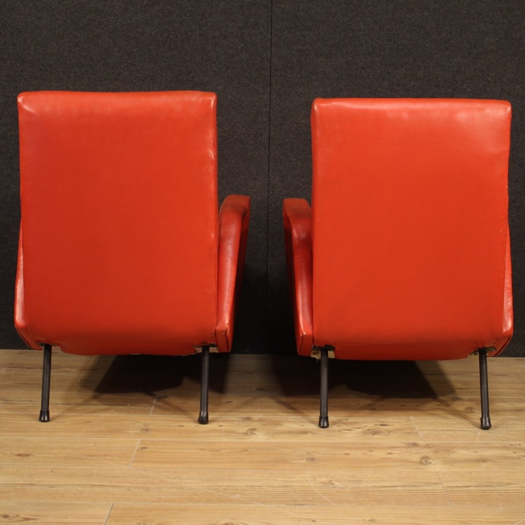 Paire De Fauteuils De Design Italien En Faux Cuir Rouge-photo-3