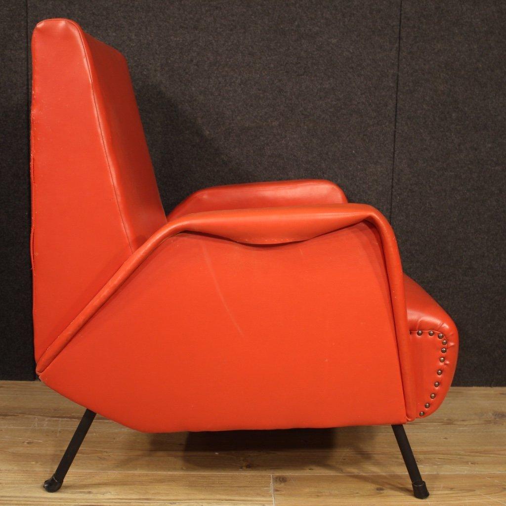 Paire De Fauteuils De Design Italien En Faux Cuir Rouge-photo-6