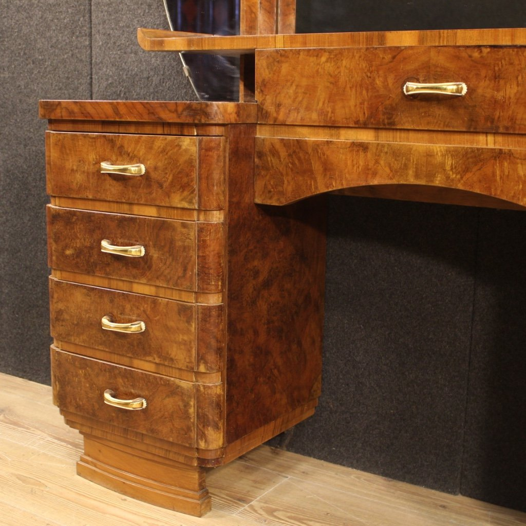 Italian Dressing Table In Walnut And Burl Woods-photo-2