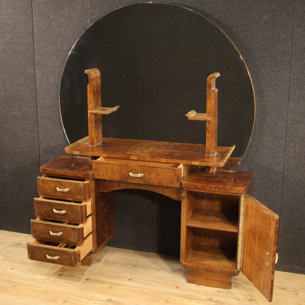 Italian Dressing Table In Walnut And Burl Woods-photo-3