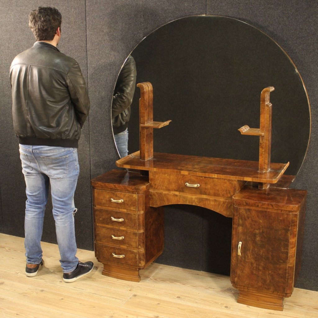 Italian Dressing Table In Walnut And Burl Woods-photo-6