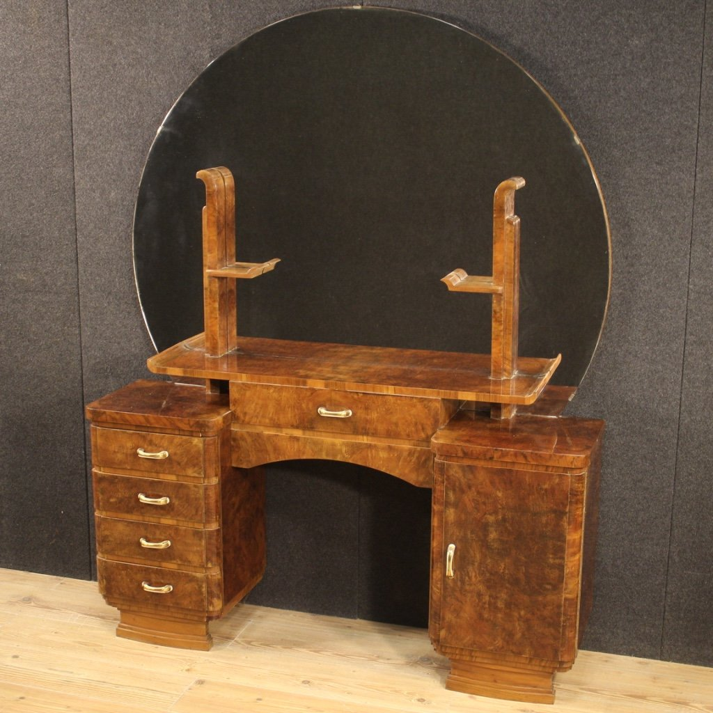 Italian Dressing Table In Walnut And Burl Woods