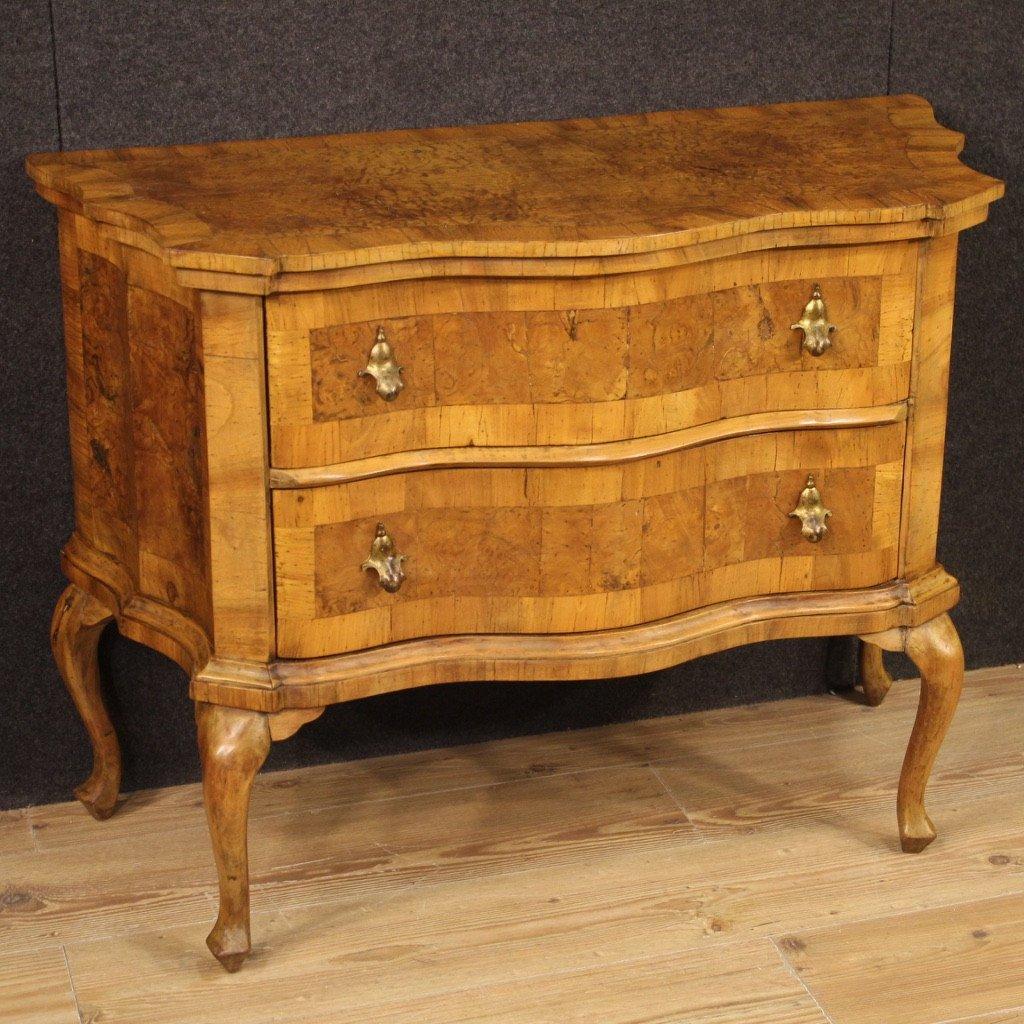 Venetian Dresser In Walnut, Elm Burl And Beech