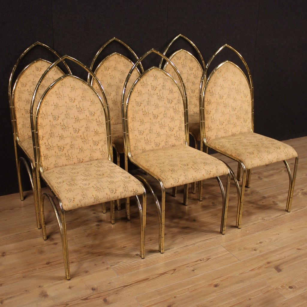 Six Chaises De Design Italien En Métal Doré
