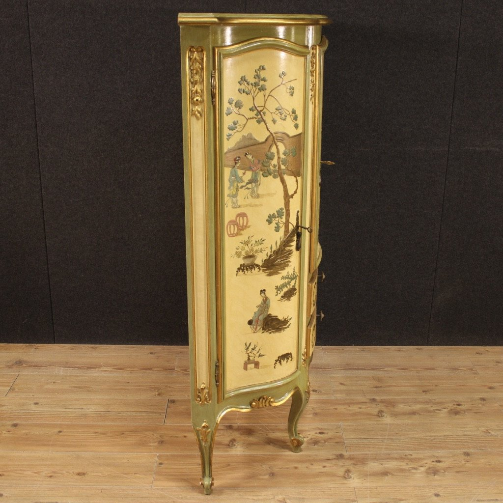 Golden, Lacquered And Painted Venetian Cupboard-photo-5