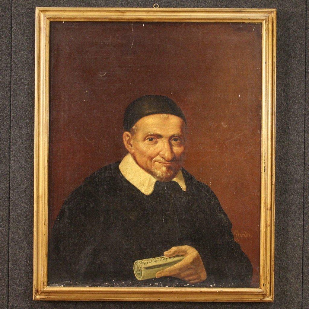 Portrait De Saint Vincent de Paul Tableau De La Seconde Moitié Du 19ème Siècle-photo-2