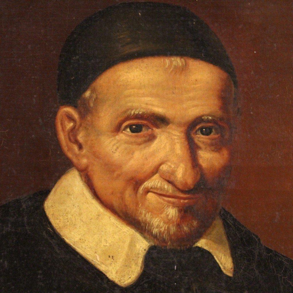 Portrait De Saint Vincent de Paul Tableau De La Seconde Moitié Du 19ème Siècle-photo-1