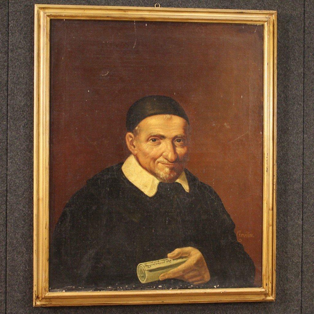 Portrait De Saint Vincent de Paul Tableau De La Seconde Moitié Du 19ème Siècle-photo-4