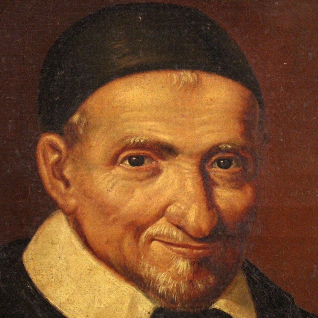Portrait De Saint Vincent de Paul Tableau De La Seconde Moitié Du 19ème Siècle-photo-5