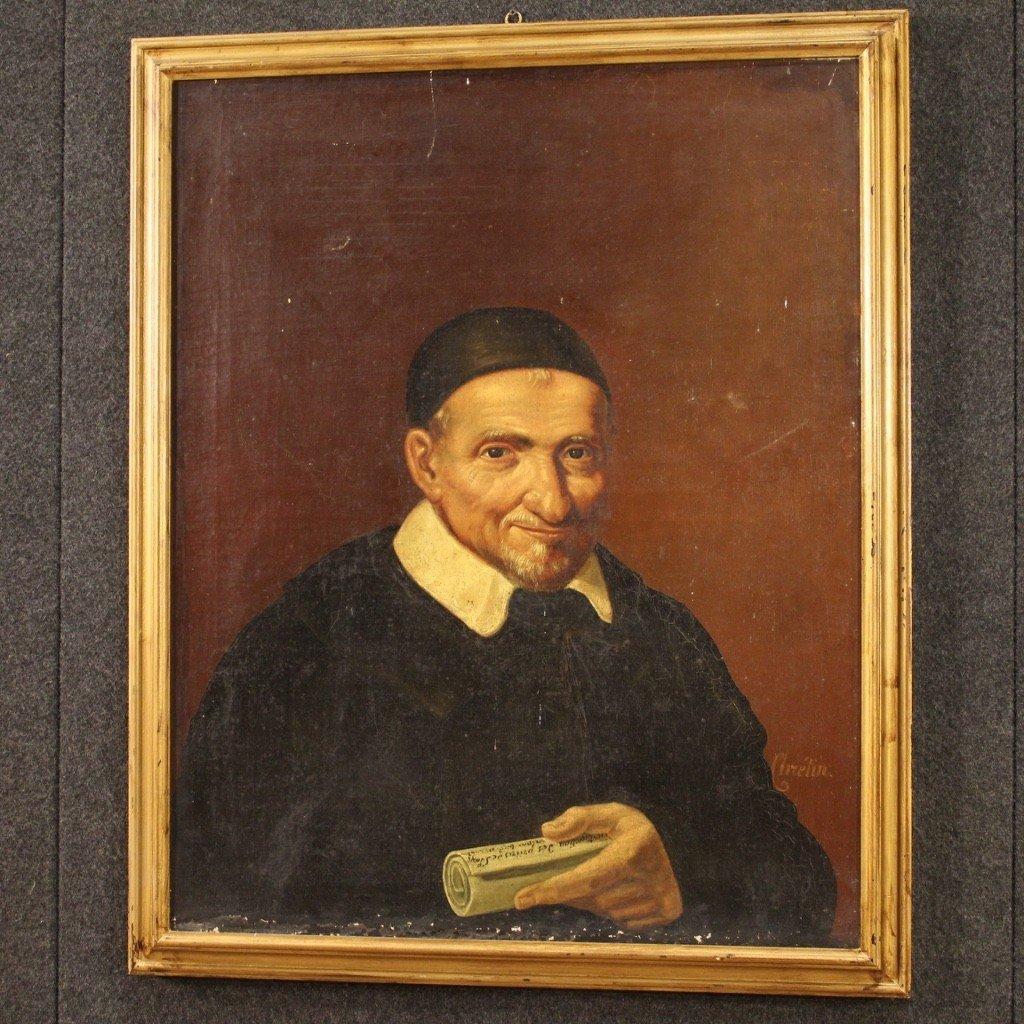 Portrait De Saint Vincent de Paul Tableau De La Seconde Moitié Du 19ème Siècle-photo-6