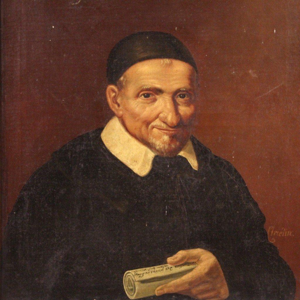 Portrait De Saint Vincent de Paul Tableau De La Seconde Moitié Du 19ème Siècle