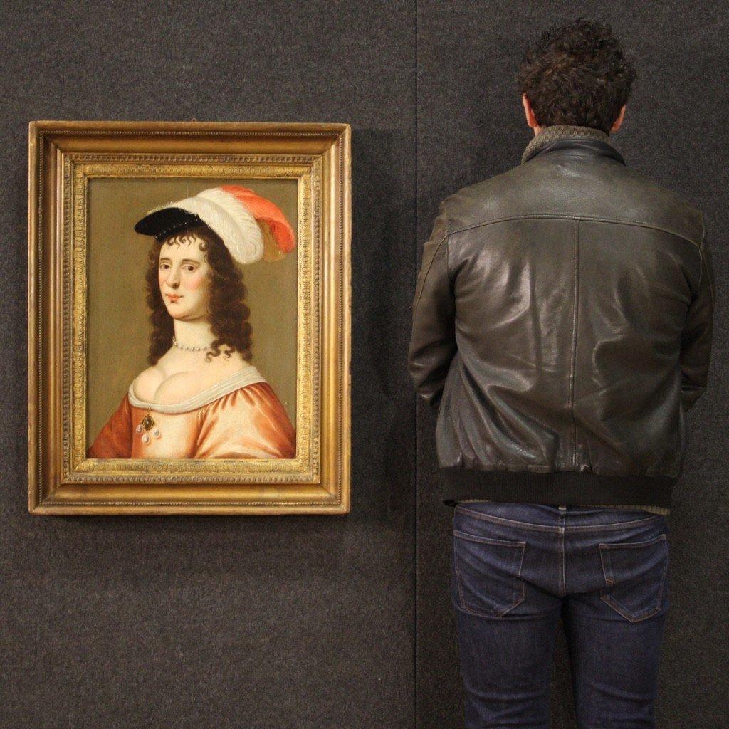 Ancien Portrait De Dame, Huile Sur Panneau Du 18ème Siècle-photo-3
