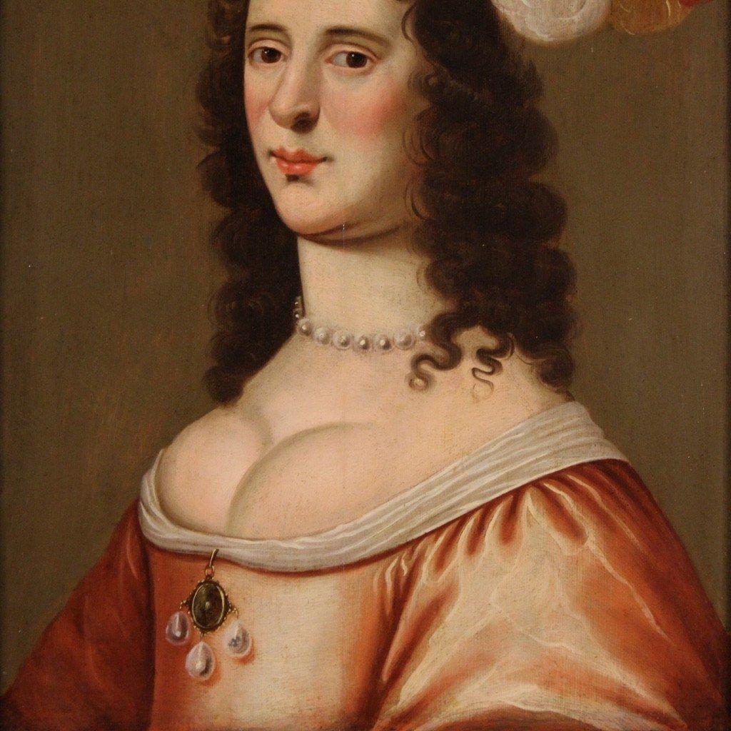 Ancien Portrait De Dame, Huile Sur Panneau Du 18ème Siècle-photo-1