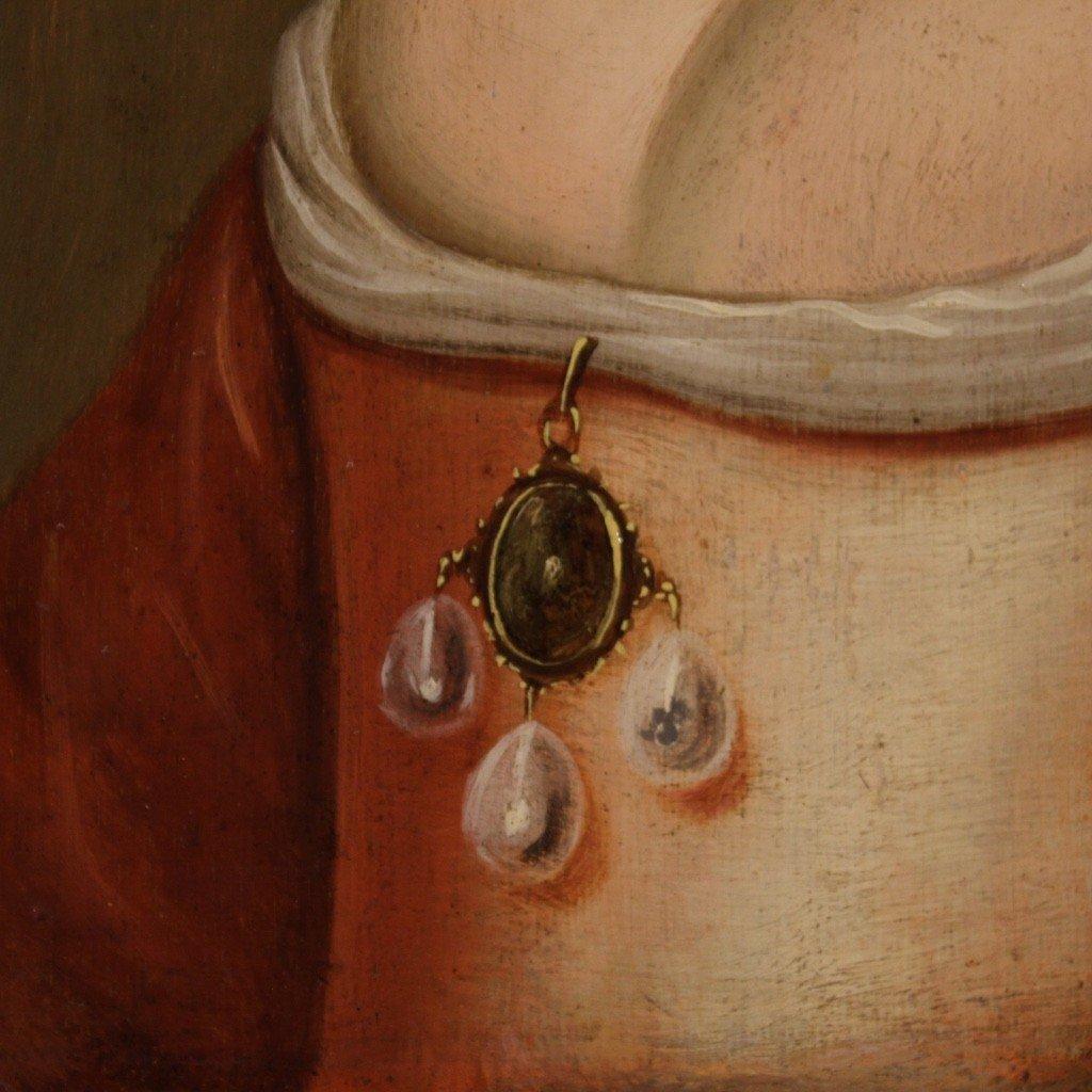 Ancien Portrait De Dame, Huile Sur Panneau Du 18ème Siècle-photo-2