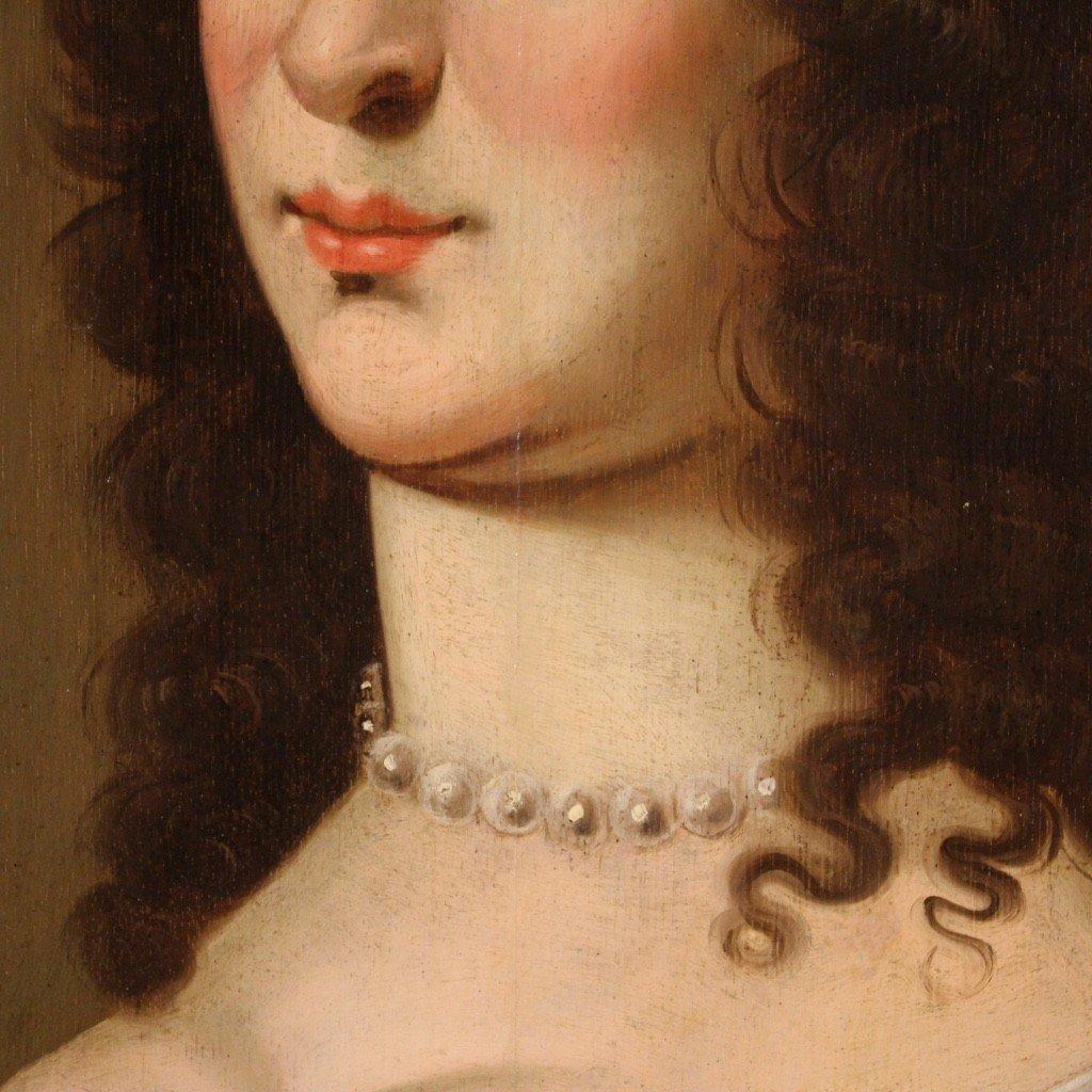 Ancien Portrait De Dame, Huile Sur Panneau Du 18ème Siècle-photo-4