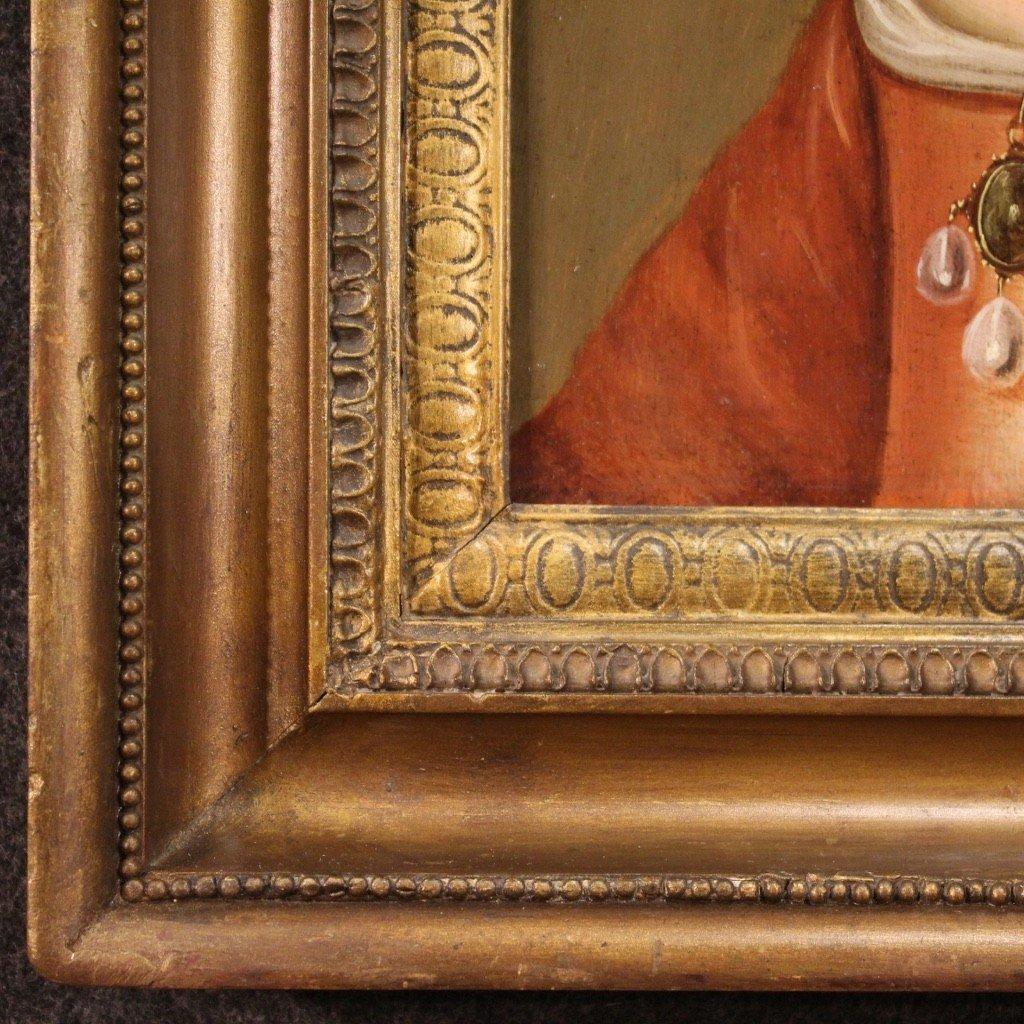 Ancien Portrait De Dame, Huile Sur Panneau Du 18ème Siècle-photo-5