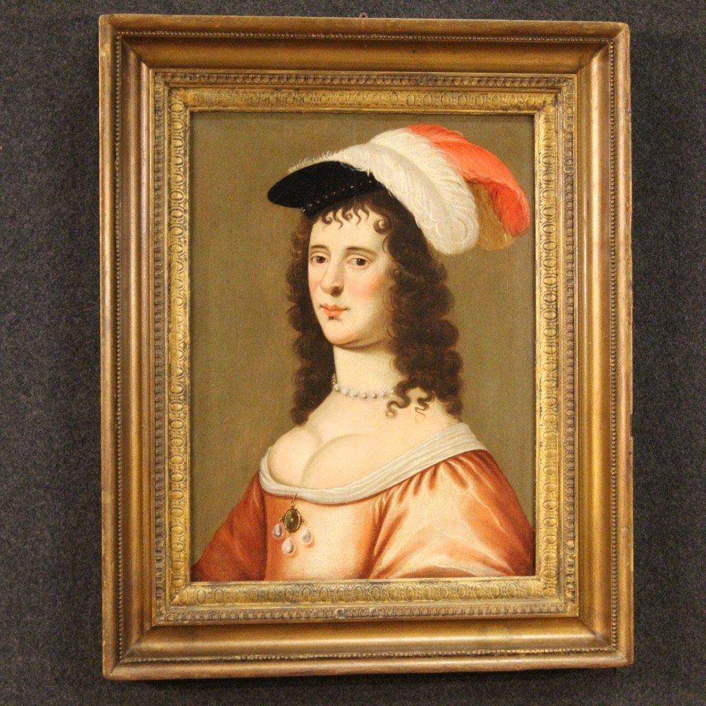 Ancien Portrait De Dame, Huile Sur Panneau Du 18ème Siècle-photo-6