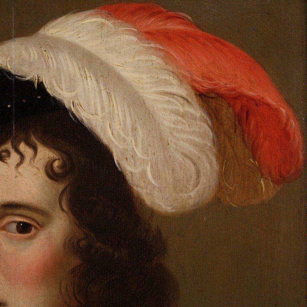 Ancien Portrait De Dame, Huile Sur Panneau Du 18ème Siècle-photo-7
