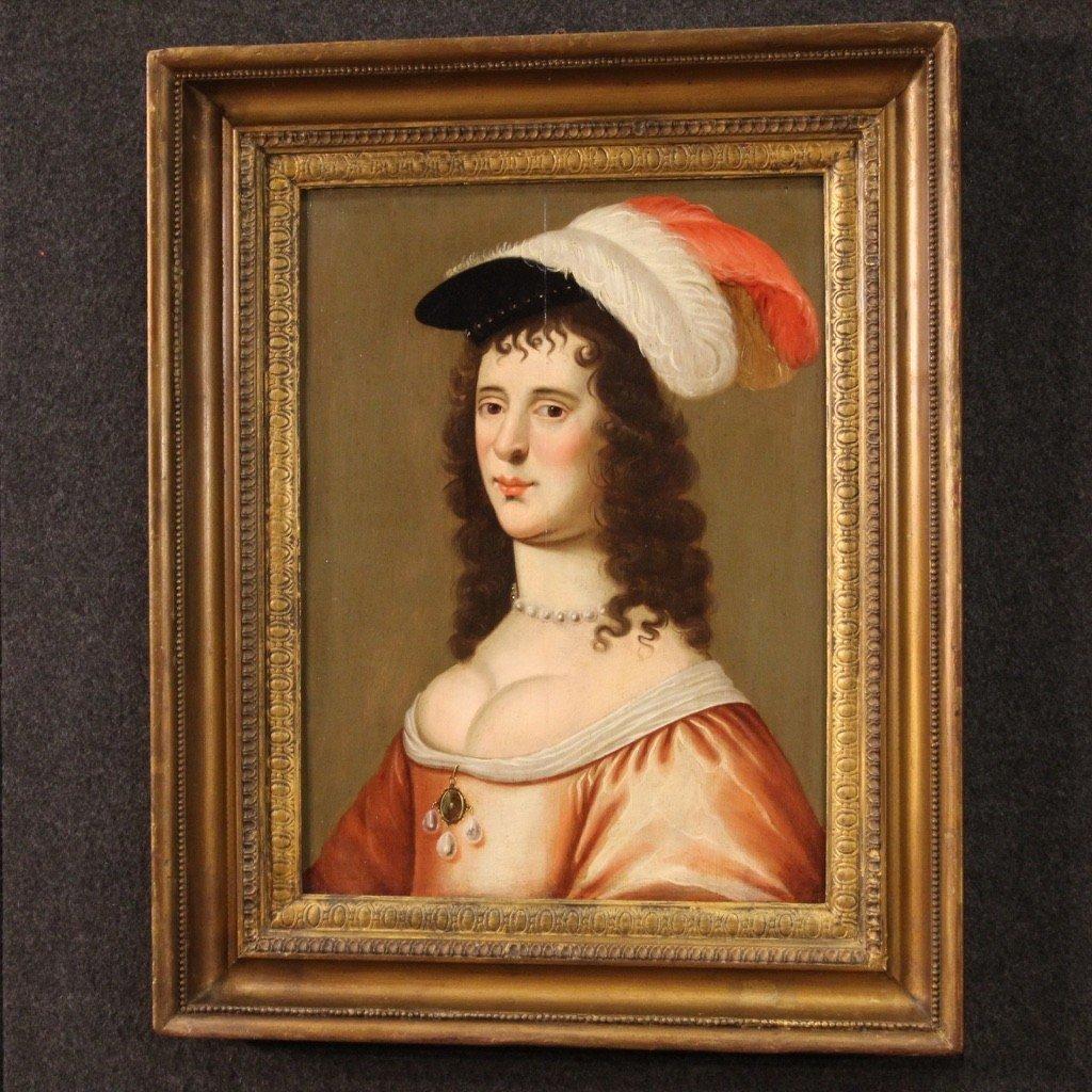 Ancien Portrait De Dame, Huile Sur Panneau Du 18ème Siècle-photo-8