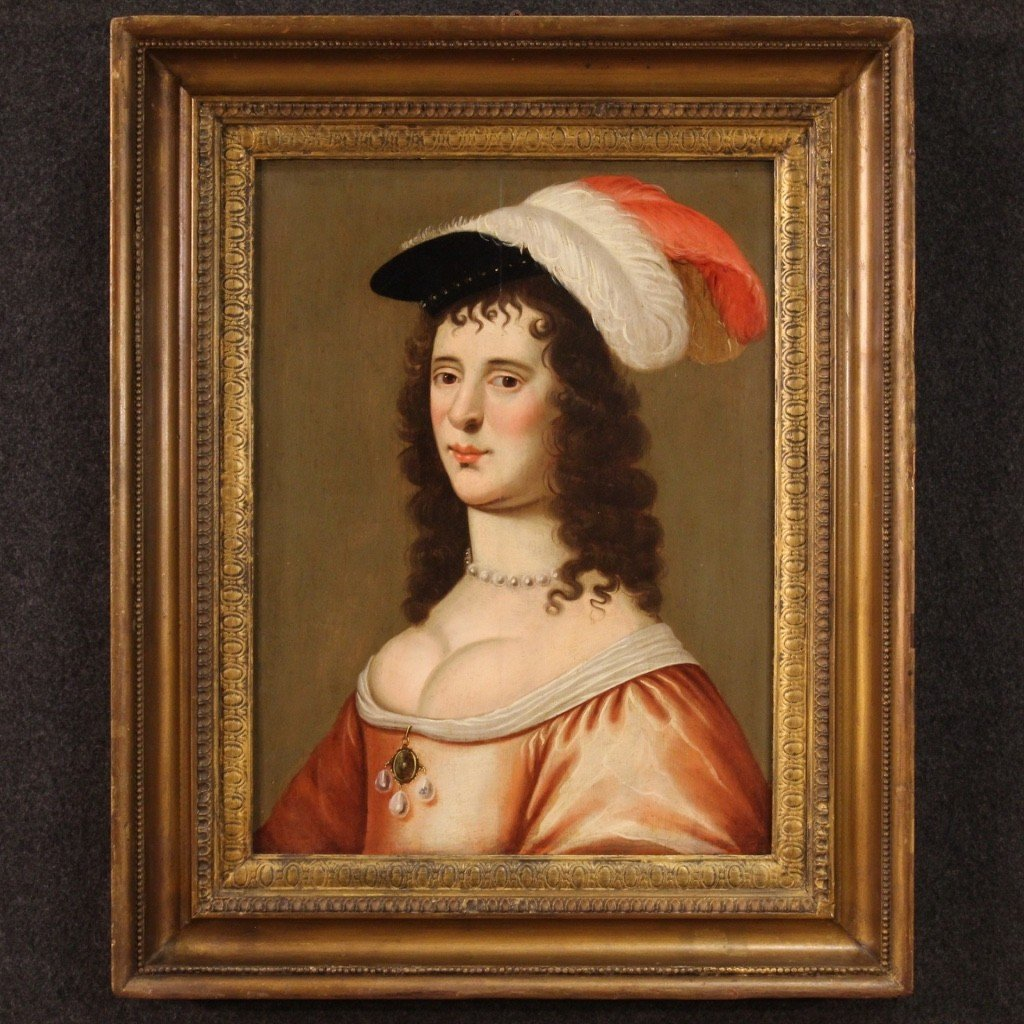 Ancien Portrait De Dame, Huile Sur Panneau Du 18ème Siècle