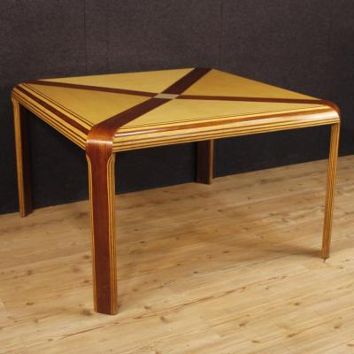 Italian Design Table In Mahogany, Maple And Painted Wood