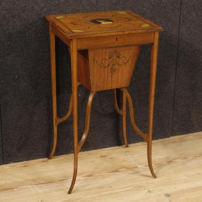 Antique English Inlaid Sewing Table From 19th Century