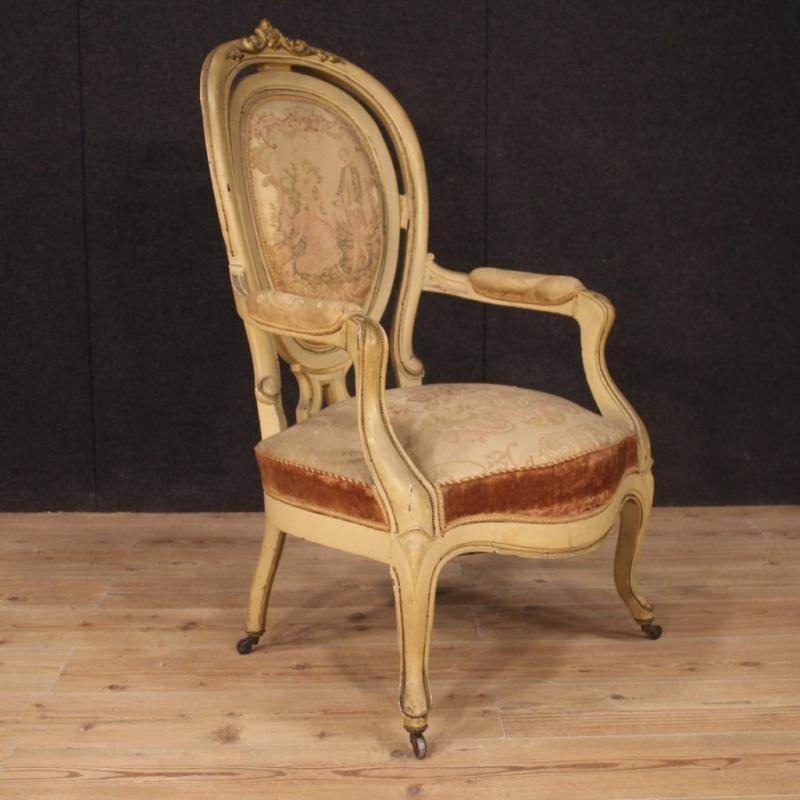 Pair Of Antique French Lacquered And Gilded French Armchairs From 19th Century-photo-4