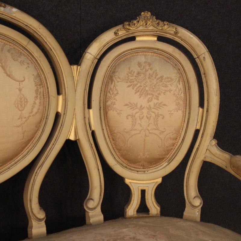 Antique French Lacquered And Gilded Sofa From The 19th Century-photo-4