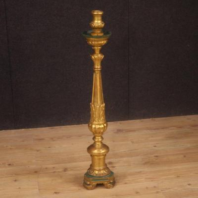 Italian Lacquered And Gilded Torch Holder From 19th Century