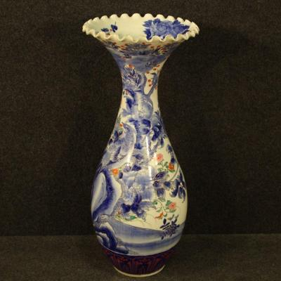 Japanese Vase In Glazed And Painted Ceramic