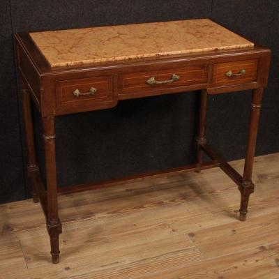 Italian Inlaid Table In Mahogany And Maple With Marble Top
