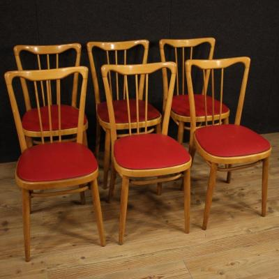 Italian Design Chairs In Exotic Wood And Faux Leather