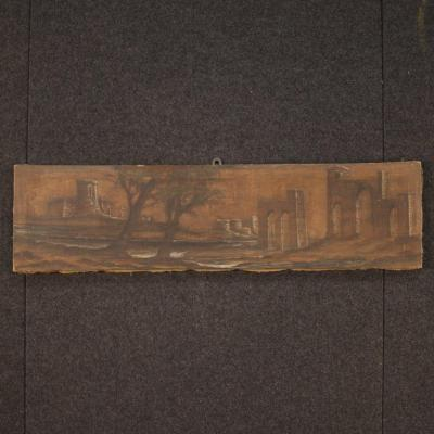 Italian Painting Landscape With Architecture From 19th Century