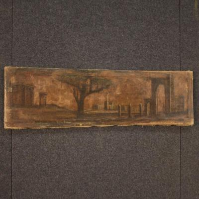 Italian Oil Painting On Canvas Landscape With Architecture From 19th Century