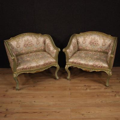Pair Of Lacquered, Gilded And Painted Venetian Armchairs