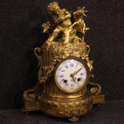 French Clock In Gilded Bronze