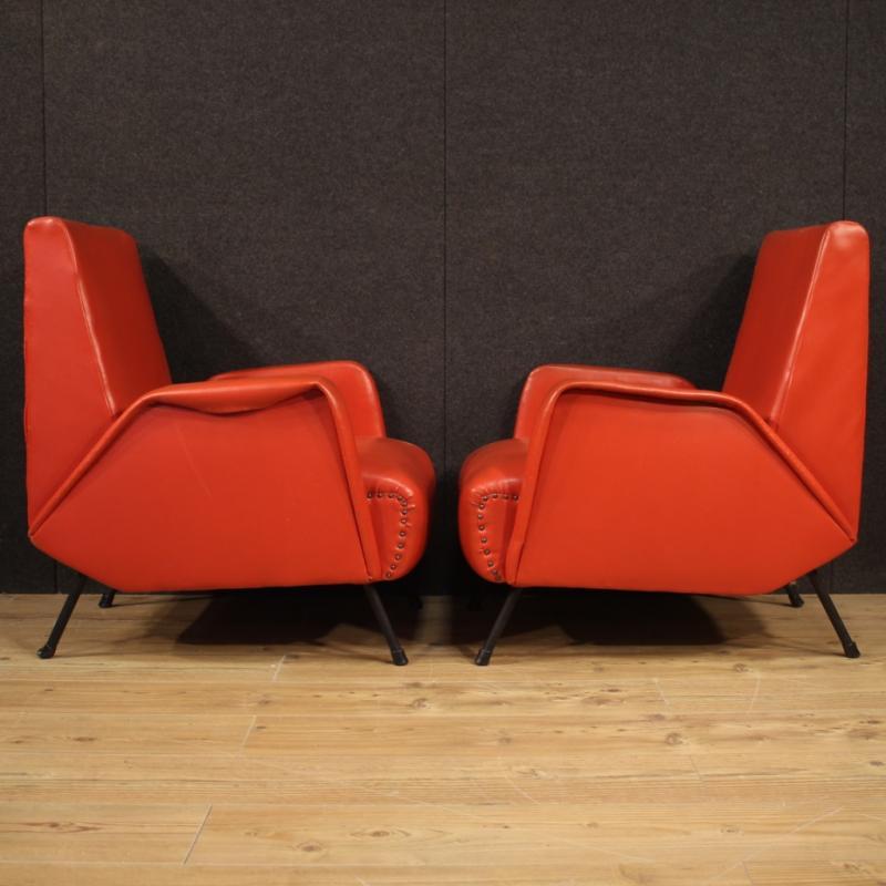 Paire De Fauteuils De Design Italien En Faux Cuir Rouge-photo-4
