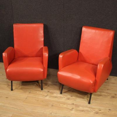 Pair Of Italian Design Armchairs In Red Faux Leather