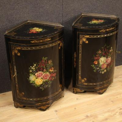 Pair Of Lacquered And Painted French Corner Cabinets